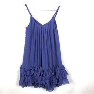 Rebecca Taylor Purple Blue Ruffle Bottom Dress